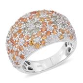 Multi Sapphire, Cambodian White Zircon Sterling Silver Cluster Ring (Size 7.0) TGW 4.36 cts.