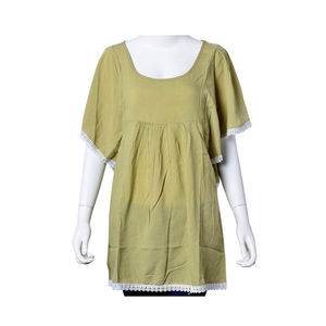 Sage Green 100% Viscose Criss Cross Back Lace Embroidered Scoop Neck Blouse (Large-1X)