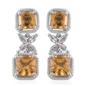 Asscher Cut Brazilian Citrine, White Topaz Platinum Over Sterling Silver Dangle Earrings TGW 6.10 cts.