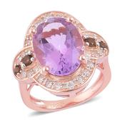 Srikant's Showstopper Rose De France Amethyst, Brazilian Smoky Quartz 14K RG Over Sterling Silver Ring (Size 9.0) TGW 6.00 cts.