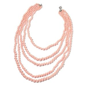 Simulated Pink Pearl Silvertone Drape Necklace (22 in)