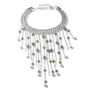 Designer Inspired Green Howlite Beads Silvertone Fringe Choker Necklace (18 in) TGW 30.00 cts.