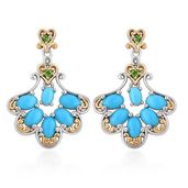 Arizona Sleeping Beauty Turquoise, Russian Diopside 14K YG and Platinum Over Sterling Silver Earrings TGW 3.04 cts.