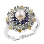 Freshwater Pearl, Multi Sapphire Platinum Over Sterling Silver Ring (Size 9.0) TGW 2.70 cts.