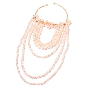 Simulated Peach Pearl Rosetone Multi Strand Drape Necklace (20 in)