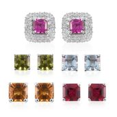 Asscher Cut Set of 5 Multi Gemstone Platinum Over Sterling Silver Interchangeable Stud Halo Earrings TGW 9.26 cts.