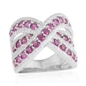 Orissa Rhodolite Garnet, White Zircon Sterling Silver Criss Cross Ring (Size 5.0) TGW 3.65 cts.