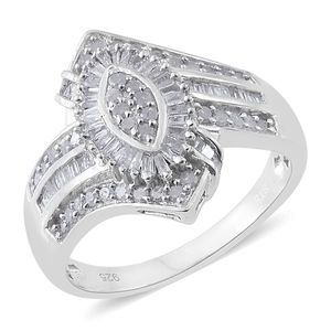 Diamond Platinum Over Sterling Silver Ring (Size 7.0) TDiaWt 0.75 cts, TGW 0.75 cts.