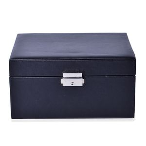 Black Faux Leather 2 Tier Jewelry Box (8.3x6.1x4.5 in) TGW 100.00 cts.