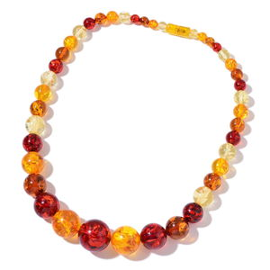 Simulated Multi Color Amber Beads Necklace (22 in)