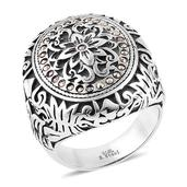 Swiss Marcasite Stainless Steel Ring (Size 8.0) TGW 0.29 cts.