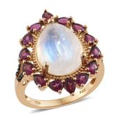 Sri Lankan Rainbow Moonstone, Orissa Rhodolite Garnet, Thai Black Spinel 14K YG Over Sterling Silver Ring (Size 9.0) TGW 12.80 cts.