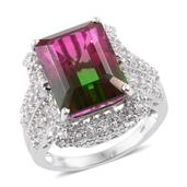 Watermelon Quartz, White Topaz Platinum Over Sterling Silver Ring (Size 5.0) TGW 16.30 cts.