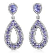Tanzanite Platinum Over Sterling Silver Dangle Earrings TGW 1.66 cts.