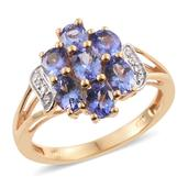 Tanzanite, Cambodian Zircon 14K YG Over Sterling Silver Split Ring (Size 8.0) TGW 2.36 cts.