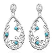 KARIS Collection - Sonoran Blue Turquoise Platinum Bond Brass Earrings TGW 0.53 cts.