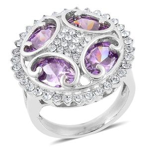 Simulated Purple Diamond, White Austrian Crystal Stainless Steel Ring (Size 10.0) TGW 5.00 cts.