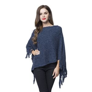 Navy Blue 100% Acrylic Winter Poncho (29.53x31.5 in)