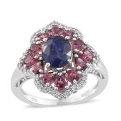 Masoala Sapphire, Orissa Rhodolite Garnet, Cambodian Zircon Platinum Over Sterling Silver Ring (Size 6.0) TGW 5.32 cts.