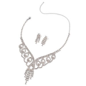 Doorbuster White Austrian Crystal Silvertone Chandelier Style Earrings and Necklace (22 in)