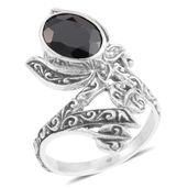 Bali Legacy Collection Thai Black Spinel Sterling Silver Ring (Size 6.0) TGW 2.30 cts.