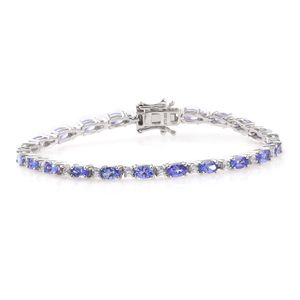 Tanzanite, Cambodian Zircon Platinum Over Sterling Silver Bracelet (6.75 In) TGW 7.11 cts.