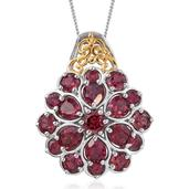 Orissa Rhodolite Garnet 14K YG and Platinum Over Sterling Silver Pendant With Chain (20 in) TGW 4.96 cts.