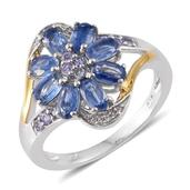 Himalayan Kyanite, Tanzanite, Cambodian Zircon 14K YG and Platinum Over Sterling Silver Ring (Size 7.0) TGW 2.60 cts.