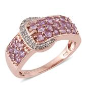 Mauve Sapphire, Cambodian Zircon 14K RG Over Sterling Silver Buckle Ring (Size 7.0) TGW 1.68 cts.