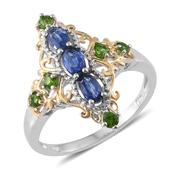 Himalayan Kyanite, Russian Diopside 14K YG and Platinum Over Sterling Silver Ring (Size 6.0) TGW 1.30 cts.