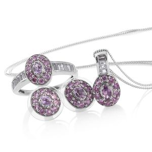 Mauve Sapphire, Madagascar Pink Sapphire, White Topaz Platinum Over Sterling Silver Earrings, Ring (Size 9) and Pendant With Chain (20 in) TGW 3.45 cts.