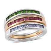 TLV Set of 3 Russian Diopside, Niassa Ruby, Tanzanite 14K YG and Platinum Over Sterling Silver Band Ring (Size 7) TGW 1.95 cts.