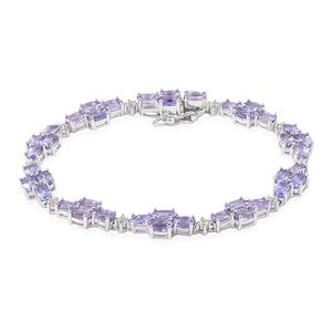 Tanzanite, White Topaz Sterling Silver Bracelet (8.00 In) TGW 12.50 cts.