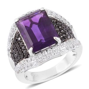 Lusaka Amethyst, Thai Black Spinel, White Topaz Black Rhodium Over and Sterling Silver Ring (Size 7.0) TGW 9.05 cts.