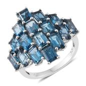 London Blue Topaz Platinum Over Sterling Silver Ring (Size 6.0) TGW 12.76 cts.