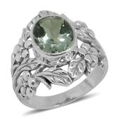 Bali Legacy Collection Green Amethyst Sterling Silver Ring (Size 8.0) TGW 3.89 cts.