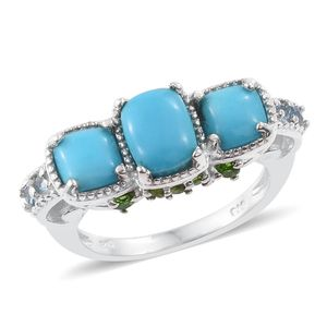 Arizona Sleeping Beauty Turquoise, Russian Diopside, Swiss Blue Topaz Platinum Over Sterling Silver Ring (Size 7.0) TGW 3.49 cts.
