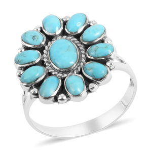 Santa Fe Style Turquoise Sterling Silver Ring (Size 8.0) TGW 4.35 cts.