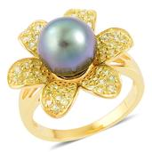 Tahitian Pearl, Hebei Peridot 14K YG Over Sterling Silver Flower Ring (Size 6.0) TGW 0.85 cts.