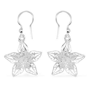 Bali Legacy Collection Sterling Silver Plumeria Dangle Earrings (4.2 g)