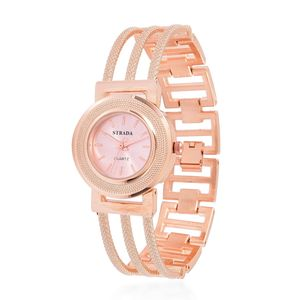 STRADA Japanese Movement Water Resistant Bracelet Watch in Rosetone with Stainless Steel Back