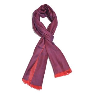 Purple Wine 100% Modal Damask Jacquard Reversible Scarf (70x27 in)