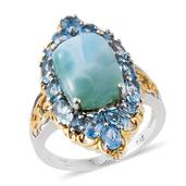 Sea Mist Larimar, Electric Blue Topaz 14K YG and Platinum Over Sterling Silver Ring (Size 7.0) TGW 11.26 cts.