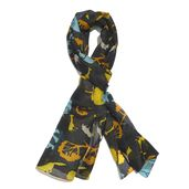 Jungle Adventure Black 100% Natural Mulberry Silk Scarf (70x19 in)