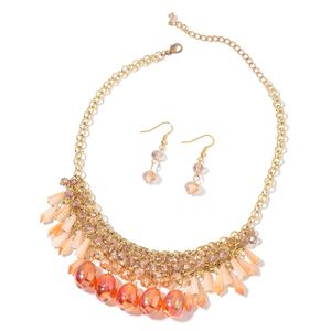 One to Own Multi Color Glass Goldtone and ION Plated YG Stainless Steel Earrings and Necklace (18 in) TGW 356.00 cts.