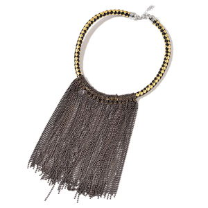 Gunmetal and Goldtone Fringe Choker on Faux Leather Braided Strand (18 in)