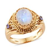Sri Lankan Rainbow Moonstone, Tanzanite 14K YG Over Sterling Silver Ring (Size 9.0) TGW 5.86 cts.