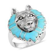 Santa Fe Style Mojave Blue Turquoise Sterling Silver Wolf Head Men's Ring (Size 13.0) TGW 3.65 cts.