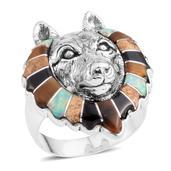 Santa Fe Style Multi Gemstone Sterling Silver Wolf Head Men's Ring (Size 11.0) TGW 3.25 cts.
