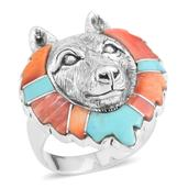 Santa Fe Style Mojave Blue Turquoise, Muli Color Spiney Oyster Shell Sterling Silver Wolf Head Men's Ring (Size 12.0) TGW 1.32 cts.